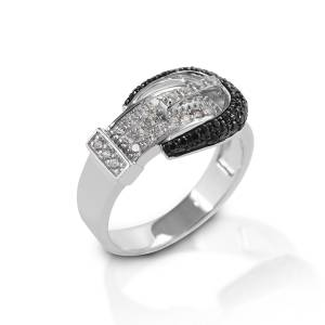 Kelly Herd Black Pave Buckle Ring - Sterling Silver