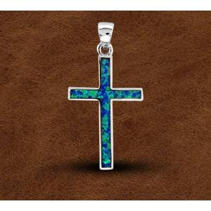 Kelly Herd Blue Opal Cross Pendant - Sterling Silver