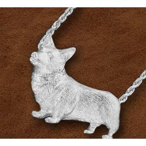 Kelly Herd Silver Corgi Necklace - Ladies - Large