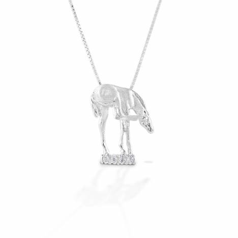 Kelly Herd Scratching Foal Pendant - Sterling Silver