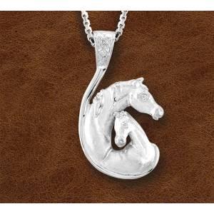 Kelly Herd Silver Mare And Foal Head Necklace - Ladies