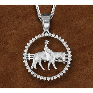 Kelly Herd Silver Western Pleasure Horse And Farmer Pendant - Ladies