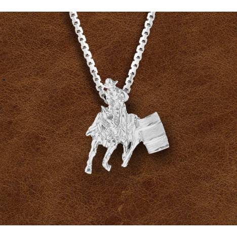 Kelly Herd Silver Barrell Racing Horse And Rider Pendant - Ladies