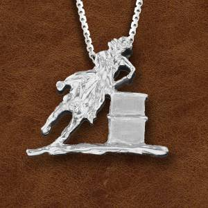 Kelly Herd Silver Barrell Racing Horse And Cowboy Pendant - Ladies