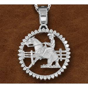 Kelly Herd Silver Sliding Horse And Cowboy Pendant -Ladies