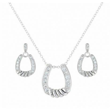 Montana Silversmiths Twisted Horseshoe Cubic Zirconia Jewelry Set