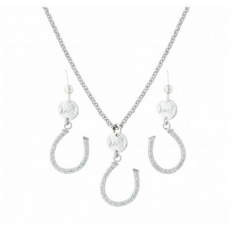 Montana Silversmiths Lucky Horseshoe Sdangle Cubic Zirconia Jewelry Set