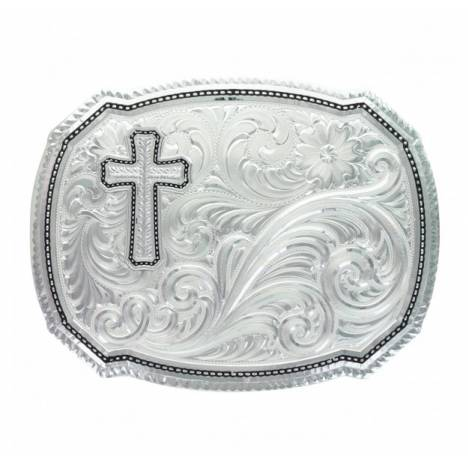 Montana Silversmiths Mexican Stitch Pinpoint Silver Wheat Cross Buckle