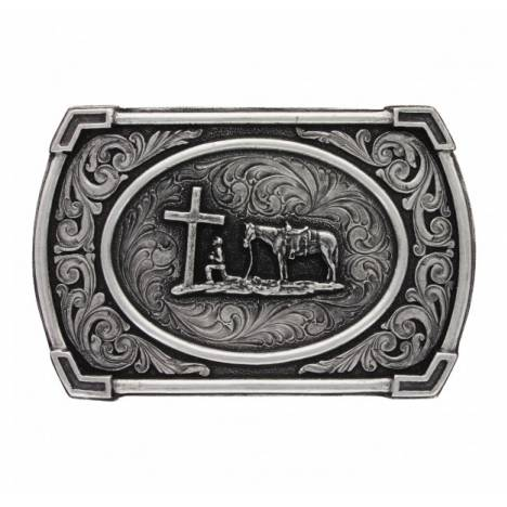 Montana Silversmiths Classic Antique Ace In The Hole Christian Cowboy Attitude Buckle