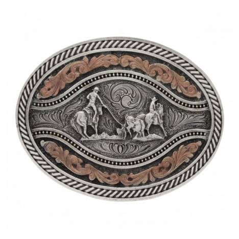 Montana Silversmiths Classic Two Tone Channel Oval Team Roper Attitude Buckle