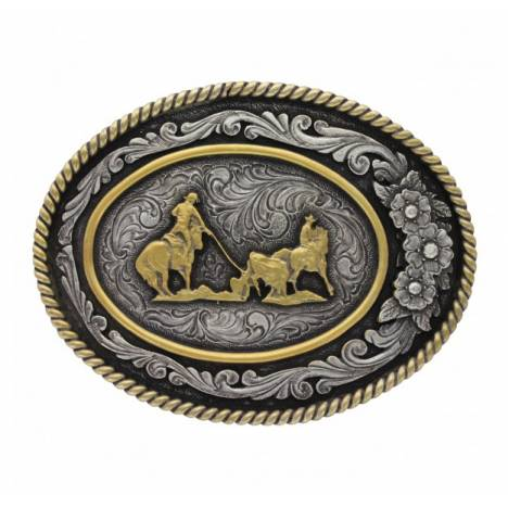 Montana Silversmiths Classic Two Tone Three Flowers Cameo Team Roper Attittude Buckle