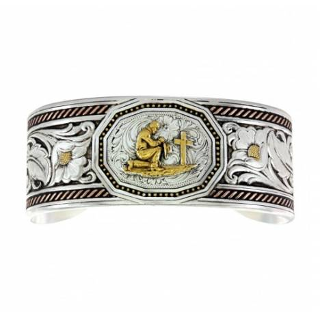 Montana Silversmiths Tri Color Wide Leather Cut Portrait Praying Cowboy Cuff Bracelet