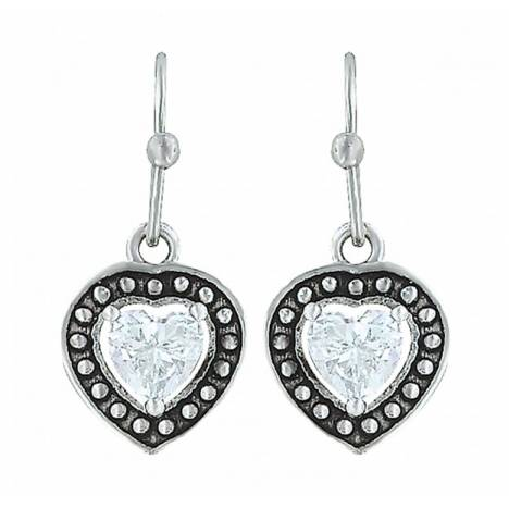 Montana Silversmiths Pin Point Framed Cubic Zirconia Heart Earrings
