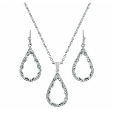Montana Silversmiths Laced Cubic Zirconia Teardrop Jewelry Set