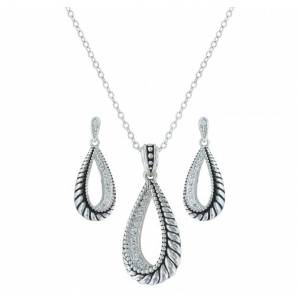 Montana Silversmiths Frosted Rope Twisted Teardrop Jewelry Set