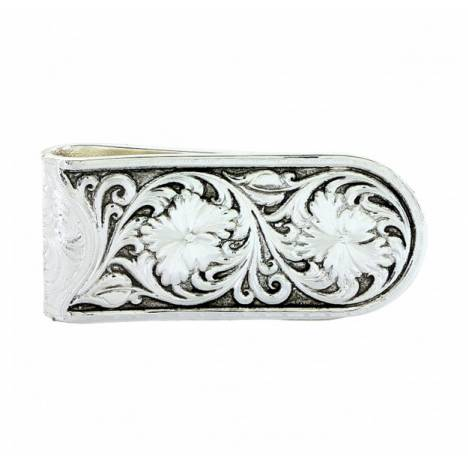 Montana Silversmiths Antique Leather Pattern Sheridan Rose Money Clip