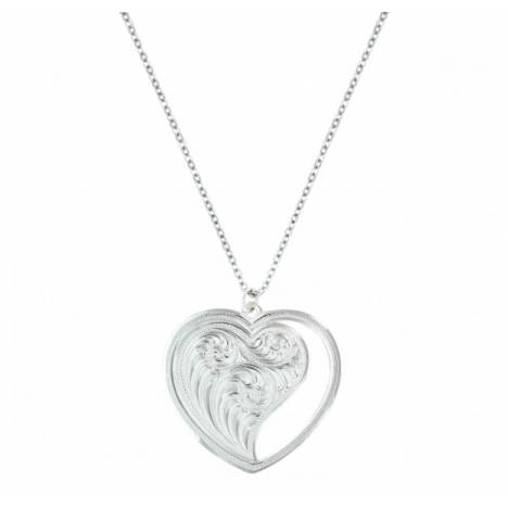 Montana Silversmiths Engraved Open Heart Swept Away Necklace