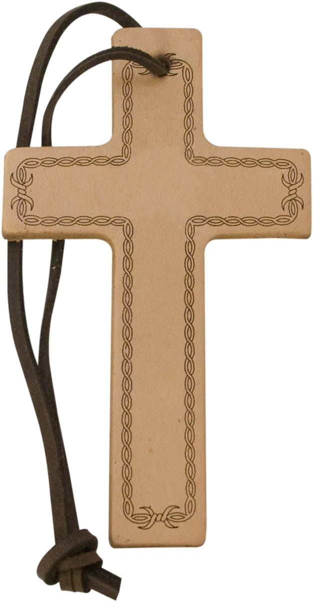 Action Barbwire Embossed Leather Cross