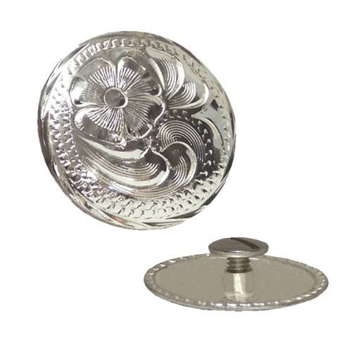 Action Silver Engraved Chicago Screw Concho