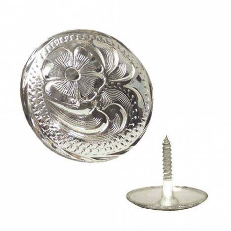 Action Silver Engraved Wood Screw Concho