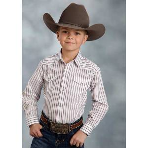 Roper Long Sleeve Stripe Western Snap Shirt - Boys - Red