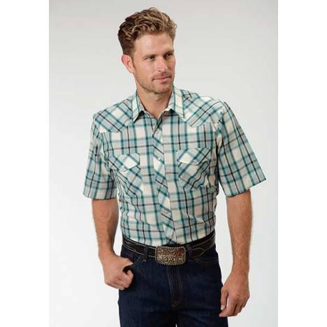 Roper Short Sleeve Woven Plaid Western Shirt - Mens - Turquoise