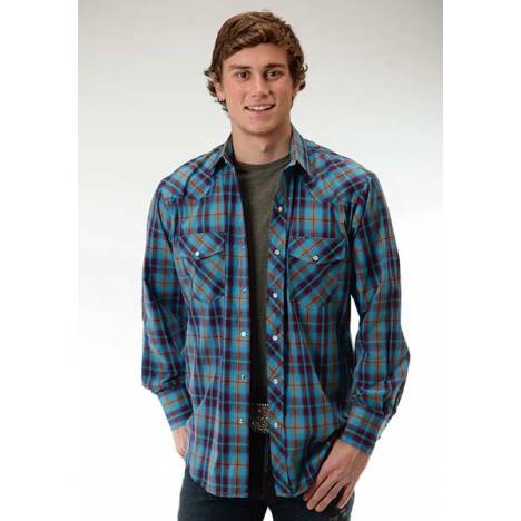Roper Snap Woven Plaid Western Long Sleeve Shirt - Mens - Wine Blue