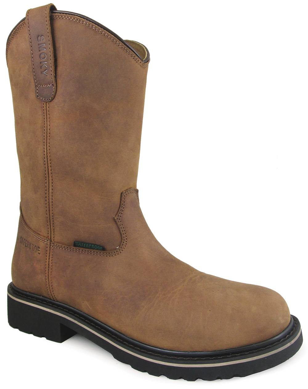 Smoky Mountain Scottsdale 10-inch Waterproof Safety Toe Wellington Boots - Mens - Brown