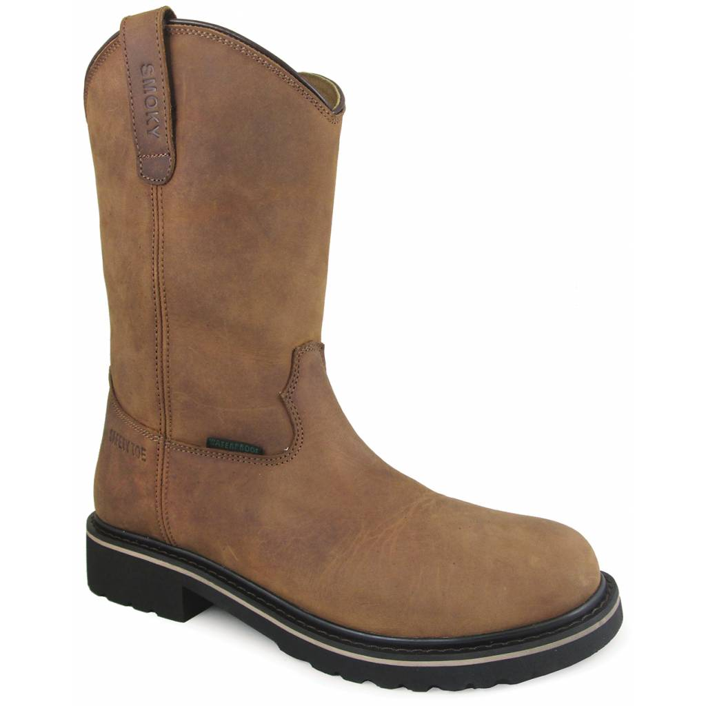 "Smoky Mountain Scottsdale 10"" Waterproof Safety Toe Wellington Boots - Mens - Brown"