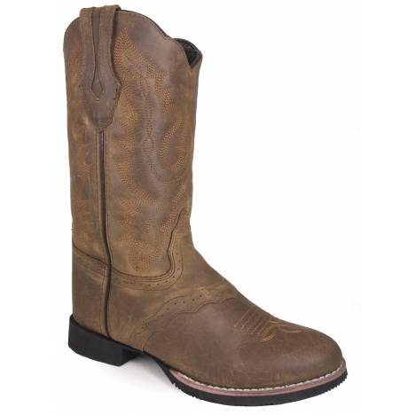 "Smoky Mountain Showdown 10"" U Toe Leather Boots - Ladies - Brown Distress"