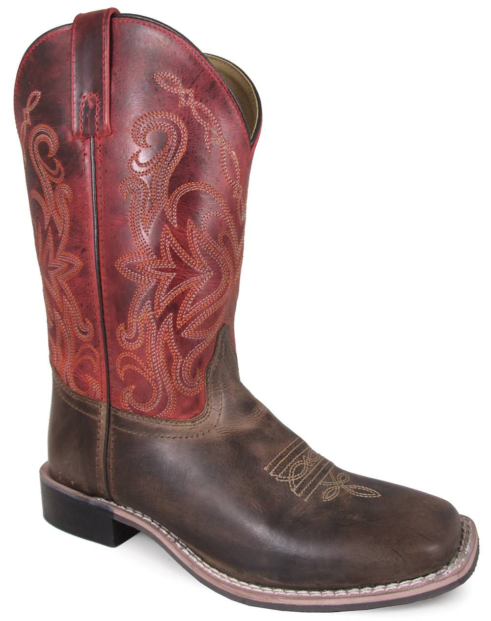 Smoky Mountain Delta 10-inch Leather Square Toe Boot - Brown/Red Crackle