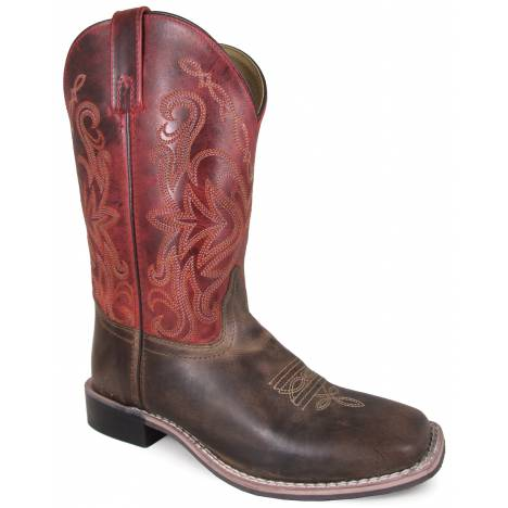 "Smoky Mountain Delta 10"" Leather Square Toe Boot - Brown/Red Crackle"