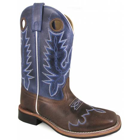 "Smoky Mountain Delta 10"" Leather Square Toe Boot - Brown/Blue Crackle"