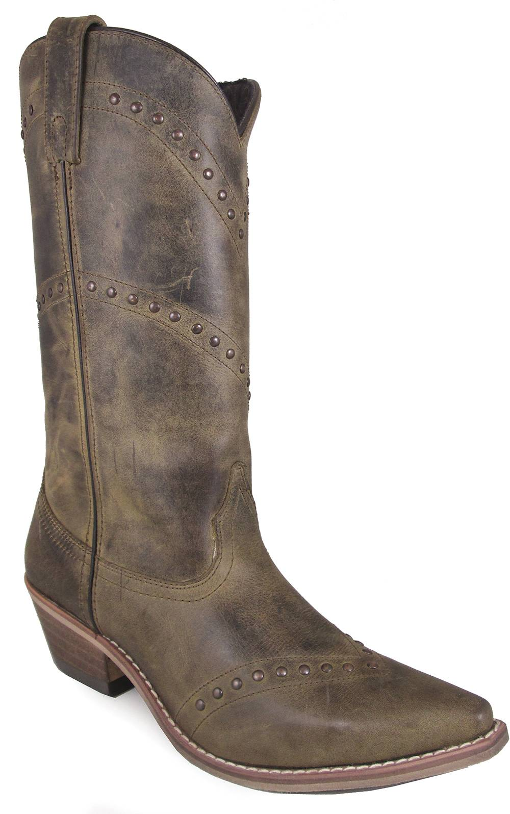 Smoky Mountain Crystal 12-inch Snip Toe Leather Boots - Ladies - Brown