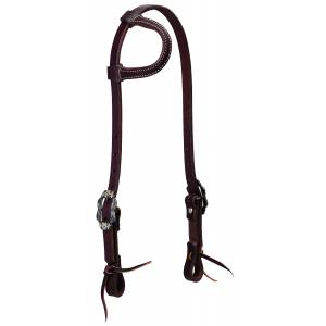 Weaver Working Tack Sliding Ear Headstall - Buffed Brown Hardware