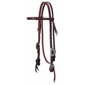 Weaver Working Tack Straight Browband Headstall - Floral Hardware