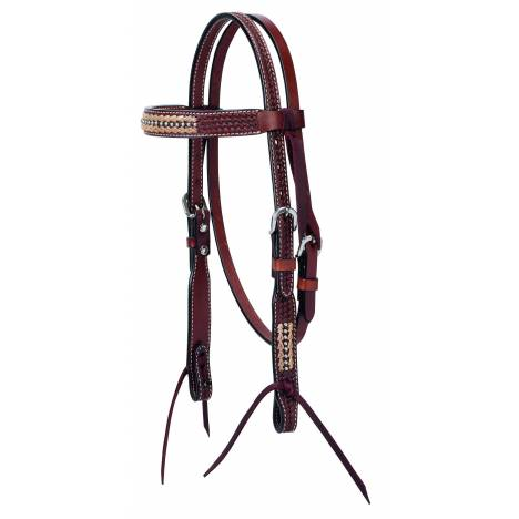 Weaver Basketweave Rawhide Accents Pony Browband Headstall