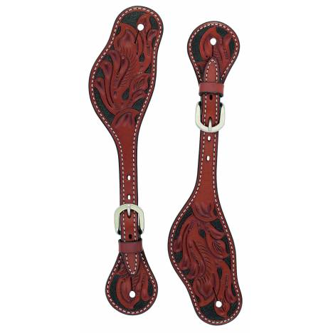 Weaver Cross Floral Carved Spur Straps - Mens
