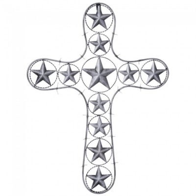 Tough-1 Cross With Stars And Barbwire Detail