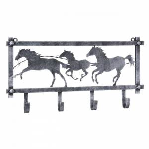 Tough-1 Horses And Barbwire Wall Rack In Hammered Finish