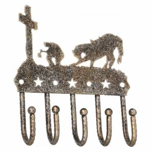 Tough-1 Key Rack With Equine Motif And Glitter Finish - Cowboy Prayer