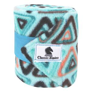 Classic Equine Print Polo Wraps - Turquoise Triangles