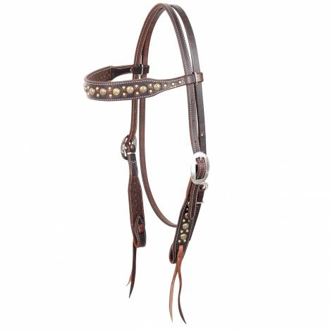 Martin Rustic Gold Sunburst Dots Browband Headstall- Harness Leather