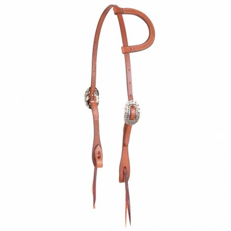 Martin Cowboy Antique Silver Dotted Split Ear Headstall- Skirting Leather