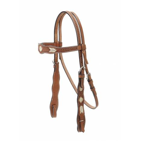 Colorado Saddlery Basket Stamped Braided Rawhide Overlay Browband Headstall