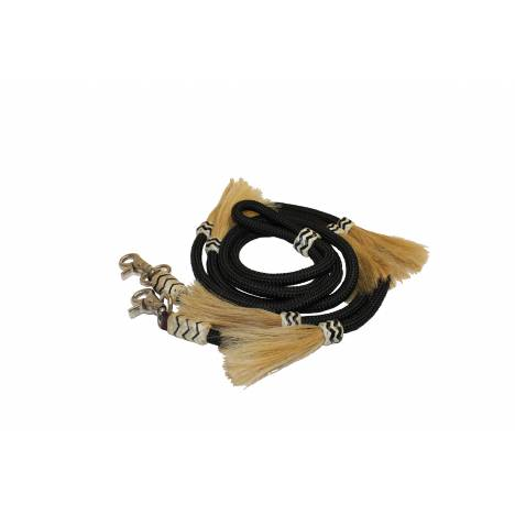 Colorado Saddlery Black Roping Rein With Horse Hair