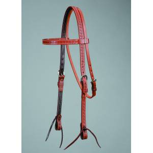 Colorado Saddlery Oiled Basket Stamped Browband Headstall