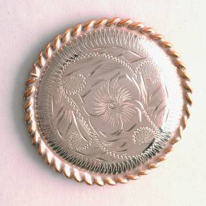 Colorado Saddlery Engraved Nickel Silver Wood Screw Rosette