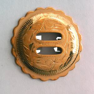 Colorado Saddlery Engraved Scalloped Edge Slotted Brass  Rosette