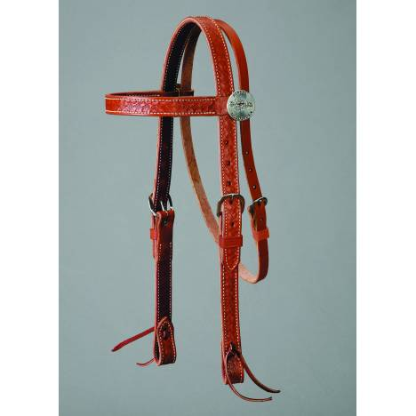 Colorado Saddlery Mahogany Leather Basket Stamped Browband Headstall